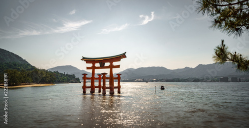 Floating Torii gate panorama on high tide - 222858191