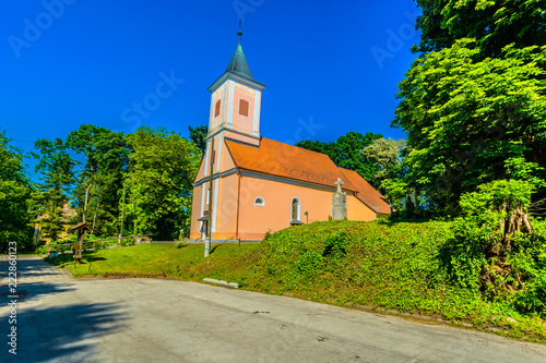 Church Zagorje landscape view./ Scenic view at small picturesque church in Northern Croatia, european travel places.  - 222860123