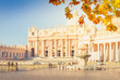St. Peter's cathedral square and fountain, Rome Italy at fall