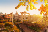 Forum - Roman ruins with cityscape of Rome with warm sunrire light, Italy af fall