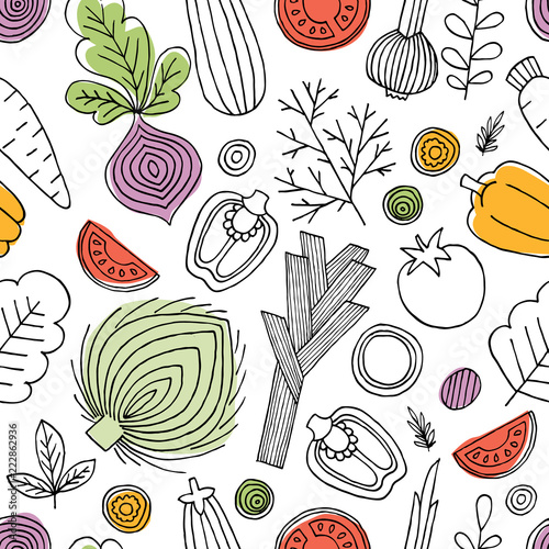minimalistyczny-warzywa-wzor-liniowa-grafika-tlo-warzywa-skandynawski-styl-zdrowe-jedzenie