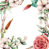 Watercolor card with cotton and flowers. Hand painted tree border with cotton, branch, dahlia, berries and leaves, lagurus isolated on white background. Illustration for design, fabric or background. - 222864937
