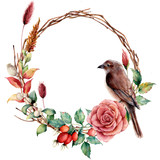 Watercolor wreath with bird and flowers. Hand painted tree border with cotton, dahlia, dogrose berries and leaves, lagurus isolated on white background. Illustration for design, fabric or background. - 222864959