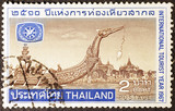 Sacred barge on postage stamp of Thailand - 222865794