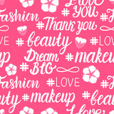 Female beauty inscription seamless pattern. White lathring isolated on an aroused background. Vector illustration.