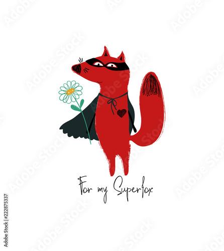Fototapeta Superhero Red Fox Holding A Flower.