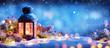 Leinwanddruck Bild - Christmas Decoration - Lantern With Ornament On Snow