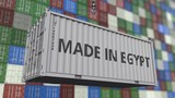 Loading container with MADE IN EGYPT caption. Egyptian import or export related loopable animation - 222877131
