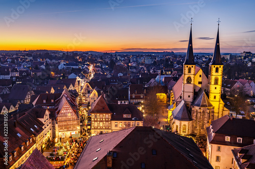 Panoramic view of Bad Wimpfen, Germany, with traditional christmas market and the city church during the blue hour. HDR taken from the blue tower (Blauer Turm).