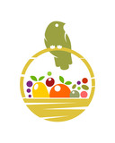 Bird on basket with fruit and vegetables - 222878953