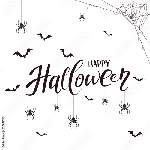 Fototapeta Lettering Happy Halloween with spiders and bats on white background