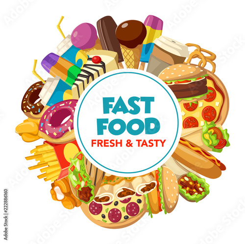 Poster Fast food burger, drink and dessert