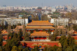 BEIJING, CHINA - DEC 23, 2017: Aerial view of Beijing cityscape from Jingshan hill at daytime with air pollution