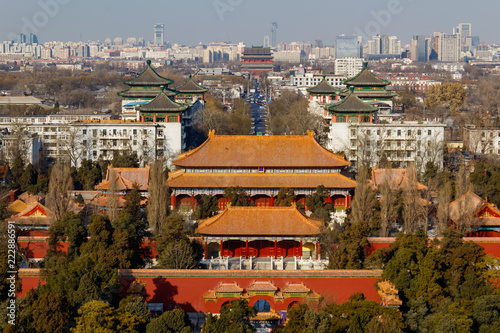 Foto Murales BEIJING, CHINA - DEC 23, 2017: Aerial view of Beijing cityscape from Jingshan hill at daytime with air pollution