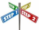 Steps 1 2 3 4 Instructions How To Procedure Signs 3d Illustration - 222892344