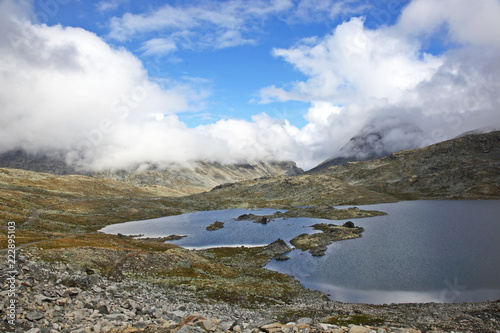 Mountain lake view. Jotunheimen National Park. Norway - 222895103