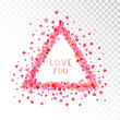 Vector decorative frame with hearts and hand drawn inscription Love you. - 222899352