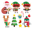 Christmas elements and vector characters like santa claus, elf ans reindeer with christmas elements and objects isolated in white background. Vector illustration.