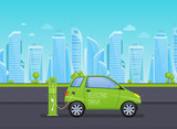 Single-seat electric car, near electric station, on background high-rise skyscrapers. - 222907958