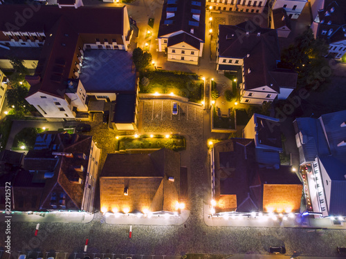 Old residential quarter on the bank of river. aerial city night view of Minsk