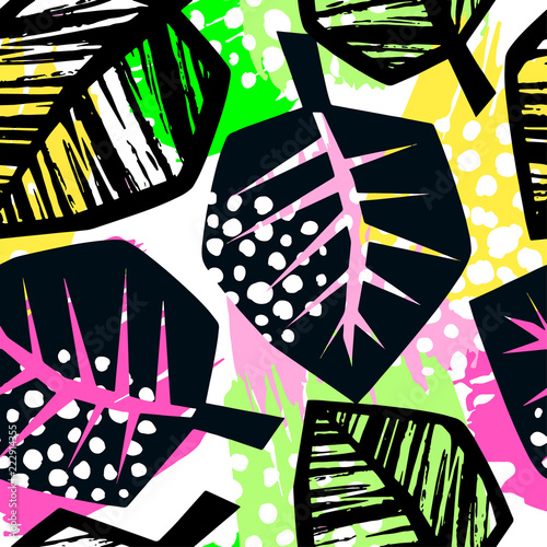 Seamless repeating textile ink brush strokes pattern in doodle grunge texture style. - 222914355