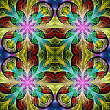 Multicolored flower pattern in stained-glass window style. You can use it for invitations, notebook covers, phone cases, postcards, cards, wallpapers and so on. Artwork for creative design. - 222914926