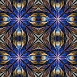 Floral pattern in stained-glass window style. You can use it for invitations, notebook covers, phone cases, postcards, cards, wallpapers and so on. Artwork for creative design. - 222915785