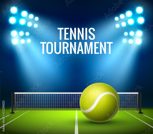 Fototapeta Tennis Championship game tournament background. Tennis competition flyer poster league design