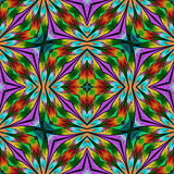 Multicolored floral pattern in stained-glass window style. You can use it for invitations, notebook covers, phone cases, postcards, cards, wallpapers and so on. Artwork for creative design. - 222916333