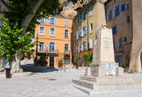 Medieval Village Cotignac Provence France Memorial on Market Square and Town Hall - 222918520