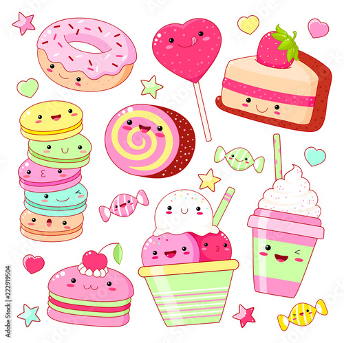 Set of cute sweet icons in kawaii style - 222919504