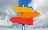 travel destinations options. Direction road sign with arrows on sky and clouds - 222919938