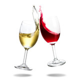 Cheers wine with splash out of glass isolated on white background. - 222920171