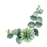 Watercolor vector wreath with eucalyptus leaves and succulents. - 222922717