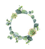 Watercolor vector frame with eucalyptus leaves and succulents. - 222922731