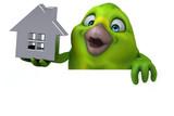 Fun green bird - 3D Illustration