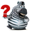 Fun zebra - 3D Illustration