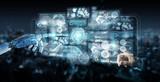 White cyborg hand using digital datas interface 3D rendering - 222930733