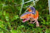A predatory dinosaur with huge teeth in the jungle. A figurine of a dinosaur