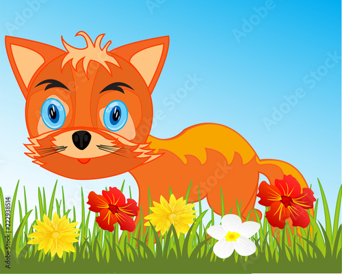 Fototapeta Drawing animal fox on white background is insulated