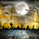 Spooky Halloween background with old trees silhouettes. - 222938746