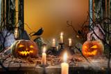 Halloween pumpkins on wooden planks. - 222938792