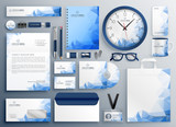 abstract blue business collateral set - 222949781