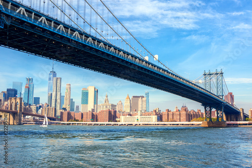 The Manhattan Bridge with Manhattan in the background at the day-time, New York City, United States.