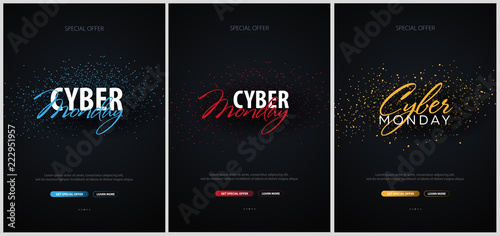 Set of Cyber Monday Sale Calligraphic banners. Vector Illustration.