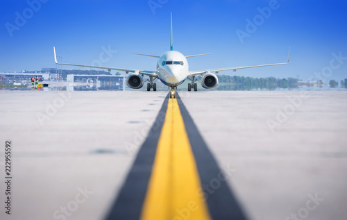 modern airliner on a runway - 222955592