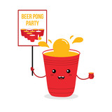 Cute cartoon vector beer cup character holding banner in hand, smiling, inviting on beer pong game party. - 222955973