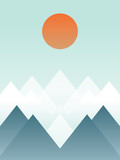 Abstrac winter mountain landscape vector illustration. Snowy hills with orange sun. Artistic poster or card.