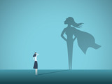Businesswoman with superhero shadow vector concept. Business symbol of emancipation, ambition, success, motivation, leadership, courage and challenge. - 222964522