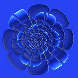 Beautiful blue flower with embossed effect in fractal design. Artwork for creative design, art and entertainment. - 222964718